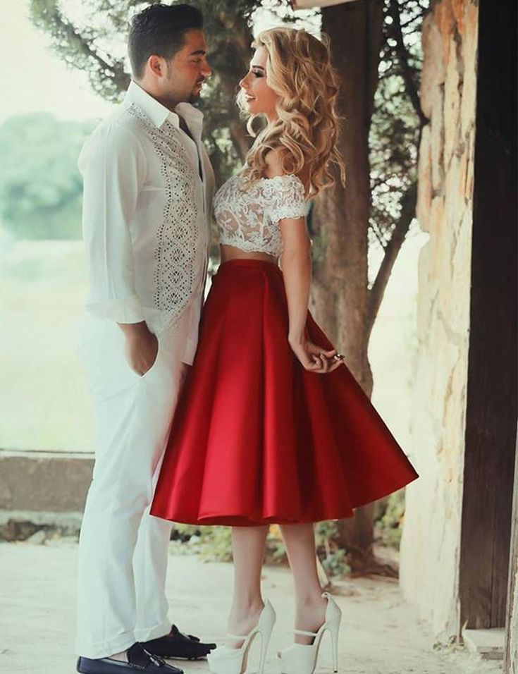 A-Line Lace Vestido Coctel Corto Red Skirt Two Piece Homecoming White Short Graduation Dress Knee-Length Party Gowns