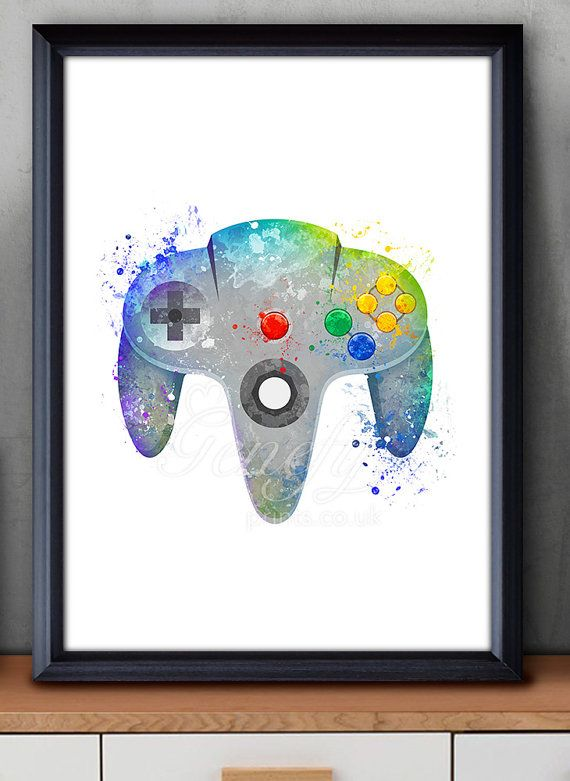 Nintendo 64 Game Controller Watercolor Print - Video Game Poster - Retro Poster - Playroom Art - Console Poster - Man Cave Decor  Paper: Epson Heavy