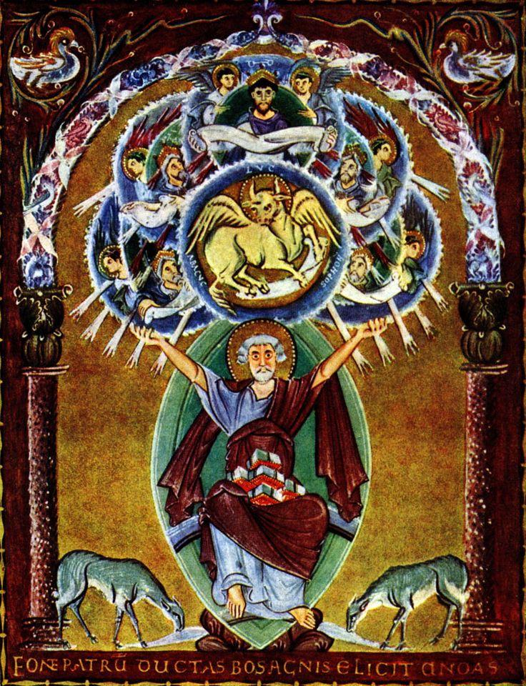 Евангелист Лука. Миниатюра Евангелия Оттона III.Около 1000 г. Мюнхен, Государственная библиотека.
