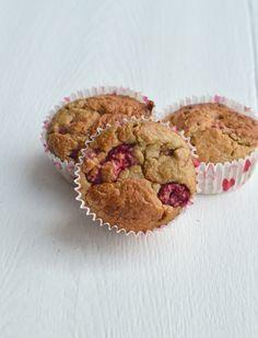 gezonde muffins met havermout, banaan, frambozen en kokos