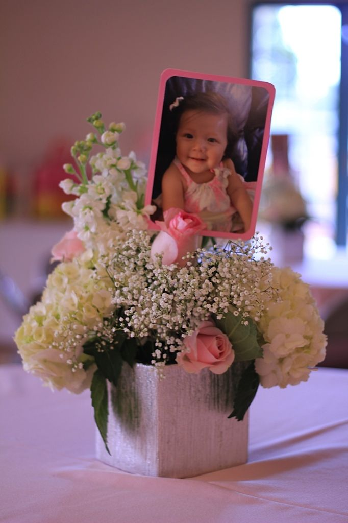 i like the idea of putting a picture on the centerpieces- perhaps a box with pics all around?