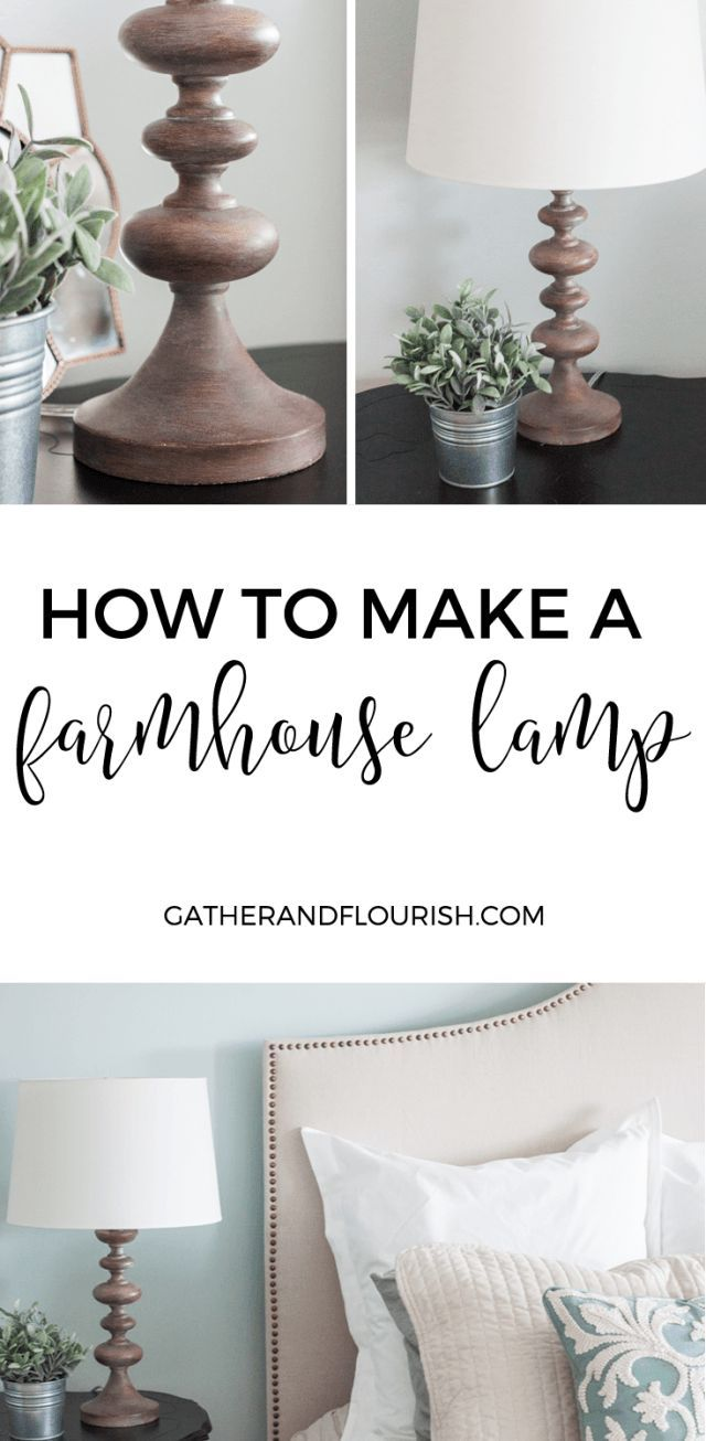 DIY Farmhouse  Style Lamp | How to get that weathered wood farmhouse style look for your outdated lamps! Have you ever seen those old brass lamps at a thrift store? You can upcycle them using this tutorial!