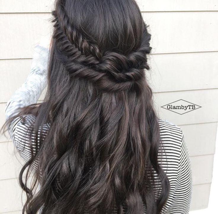 Long Dark Hair Braided Crown Braided Crown Hairstyles