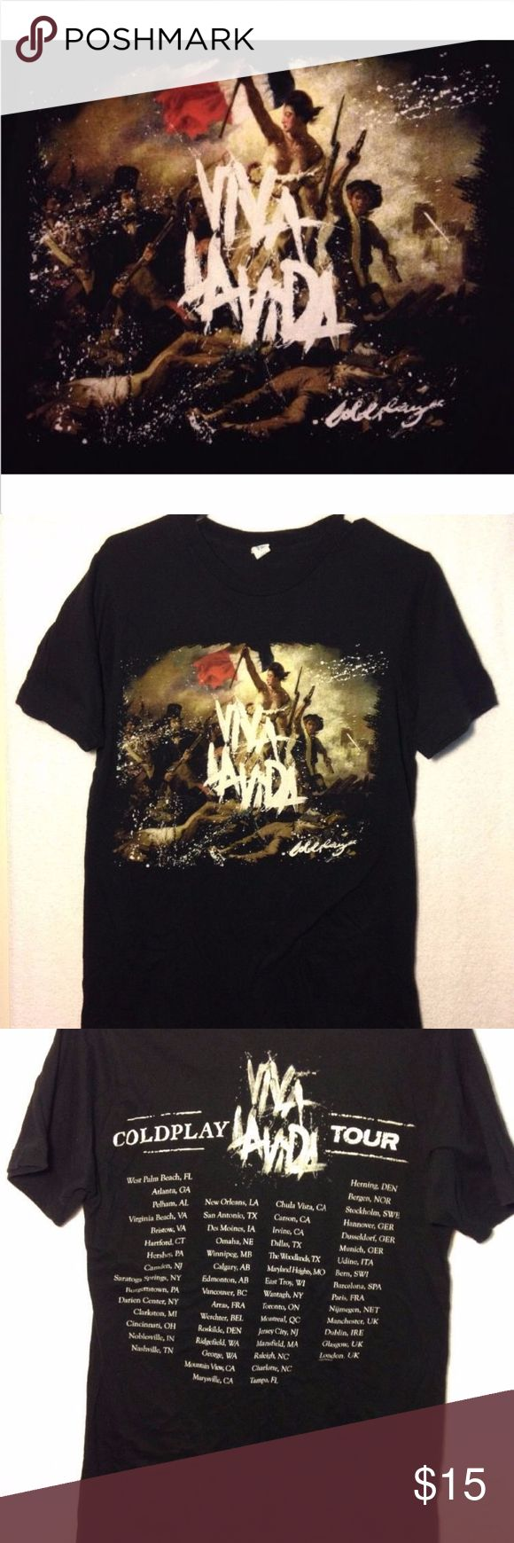 COLDPLAY Viva La Vida Tour '08 Black T-Shirt Small Excellent condition authentic Coldplay tour shirt made by Tultex. 100% pre shrunk cotton. Mens size small. A woman or child could also wear this. Please check the measurments below to see if it will fit you.  MEASUREMENTS:  armpit to armpit: 17.5  inches length: 28  inches Tultex Shirts Tees - Short Sleeve