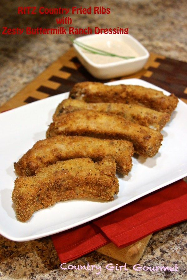 Looking for the perfect snack for the big game? Try these Country Fried Ribs! Yes, Fried Ribs!  RITZ Country Fried Ribs with Zesty Buttermilk Ranch Dressing