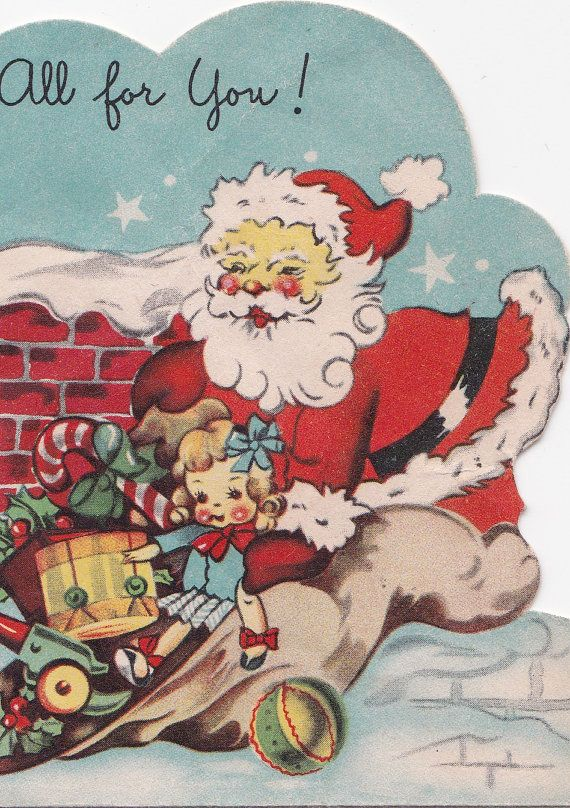 Vintage Santa Claus toys doll Christmas card digital download
