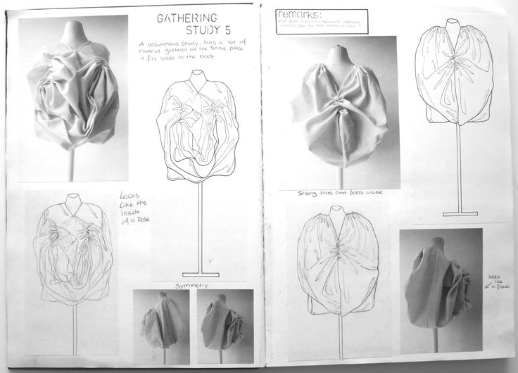 Fashion Sketchbook - exploring gathering fabric manipulation techniques - fashion design prototype development; fashion portfolio // Rosa Kramer