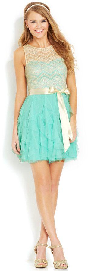 Teeze Me Juniors' Glittered Lace Ruffled Dress