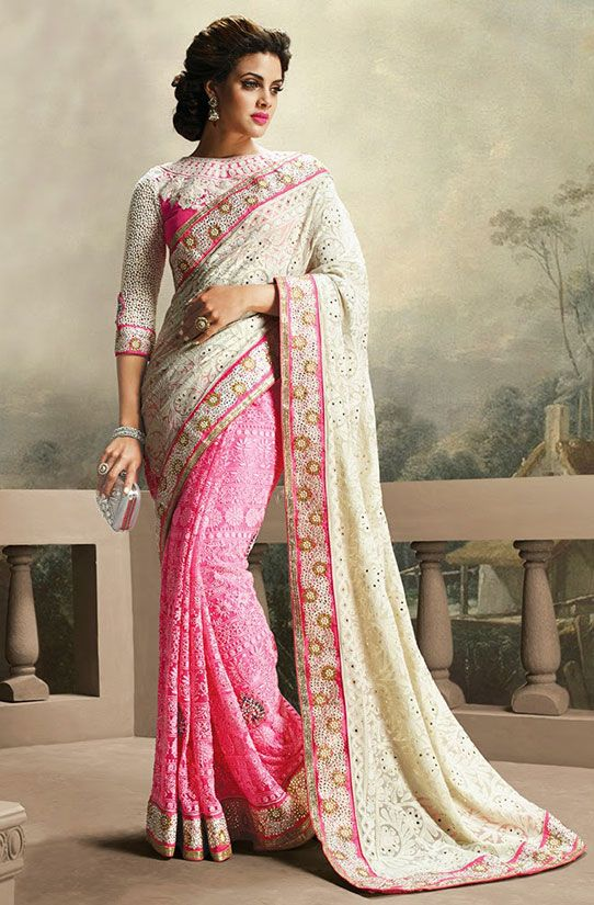 Exquisite Rose Pink and Off White Embroidered Saree