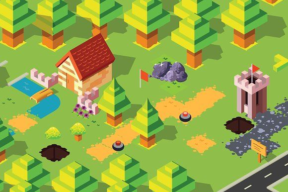 Isometric Forest Pack by Cristian Pintos on @creativemarket