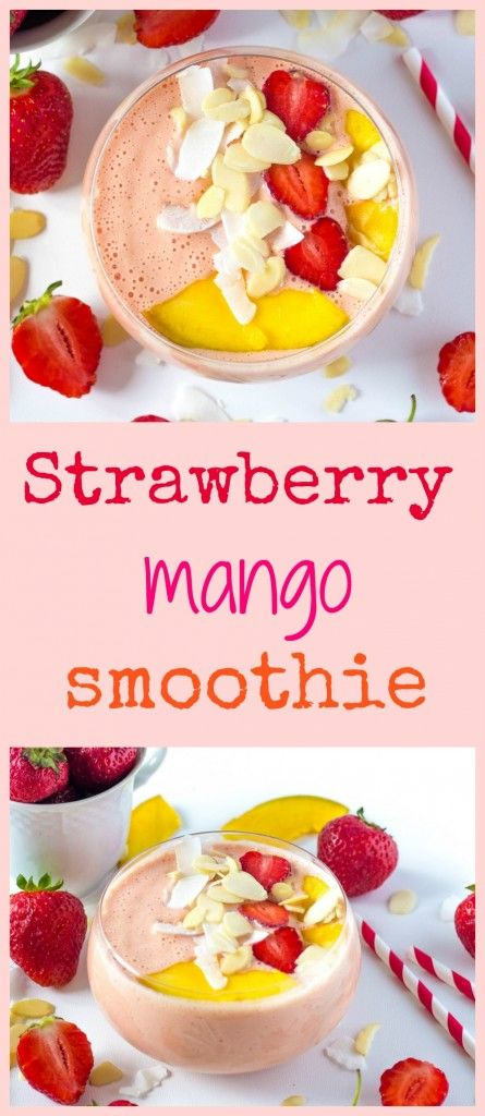 Quick summer smoothie made from strawberries and mango