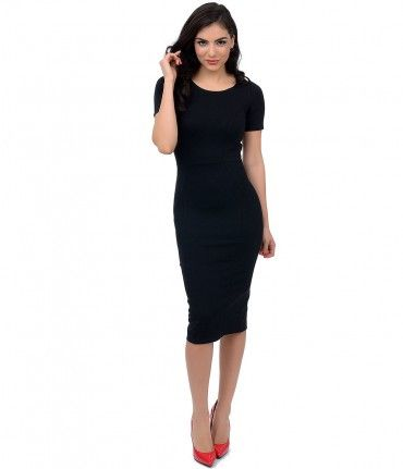 For the woman about town! Presenting a retro-ravishing and marvelously mod fitted frock in jet black. Crafted in a sturd...Price - $48.00-cEPZCUdD
