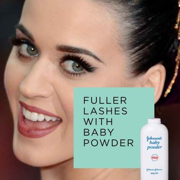 Use baby powder to get the look of falsies. | 42 Money-Saving Tips Every Makeup Addict Needs To Know