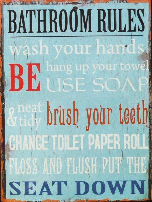 Metallschild Bathroom  http://www.thebungalow.ch/metallschild-bathroom-rules-used-look/a-770/