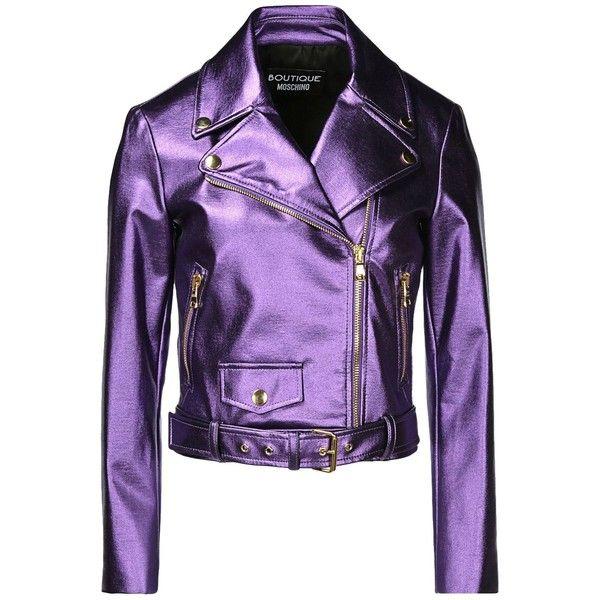 Boutique Moschino Blazer (£260) ❤ liked on Polyvore featuring outerwear, jackets, blazers, moschino, coats, blazer, purple, long sleeve blazer, zipper blazer and blazer jacket