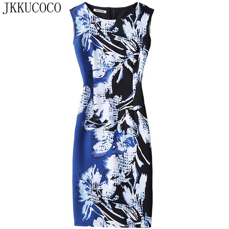 JKKUCOCO Women's Dress Nice Flowers Print Sleeveless dresses Women Slim package hip Sexy Sheath Dress Party Dresses S-XL