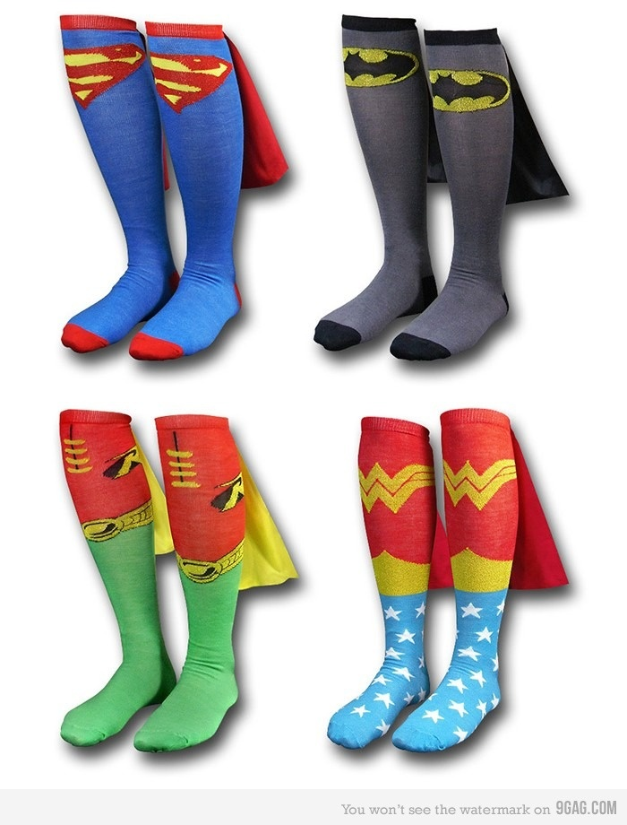 Superhero Cape Socks. They have capes! Haha, so wanna slide  the floor in these.