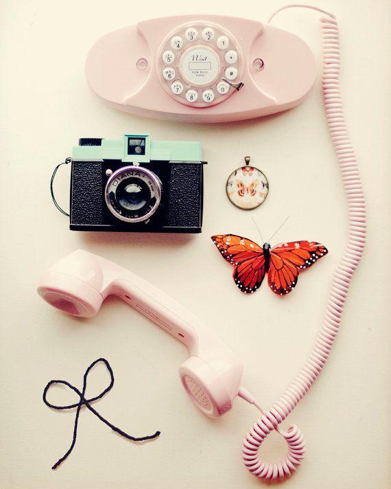 Vintage Pink Aqua Phone♡Camera☆