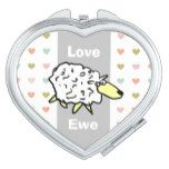 Love You Sheep Pun Compact Mirror  $18.40  by NigelSutherland