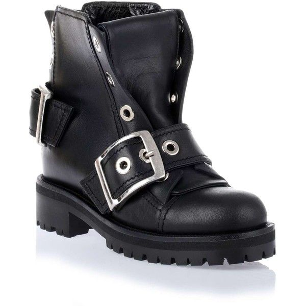 Alexander McQueen Black leather buckle biker boot featuring polyvore, fashion, shoes, boots, distressed leather boots, leather biker boots, black biker boots, leather moto boots and black leather boots