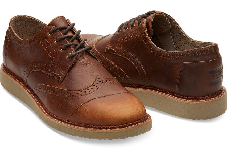 Dark Brown Pull Up Leather Men's Brogues | TOMS®