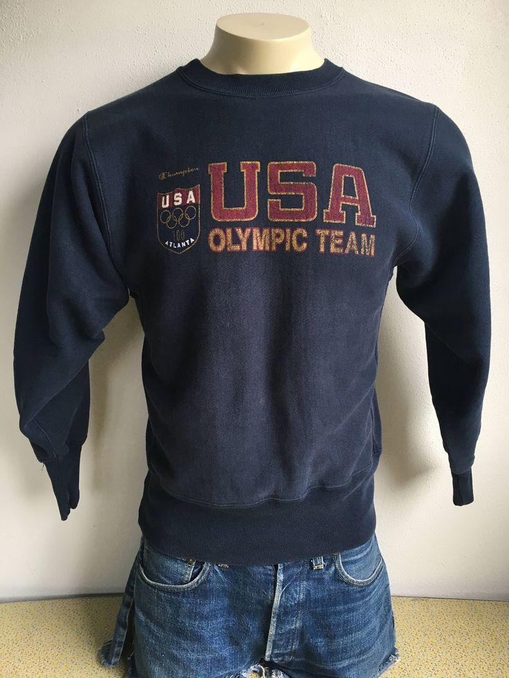 USA Olympic Sweatshirt Atlanta Team 1996 Vintage Sweater 90s Champion Reverse Weave Heavy Cotton Blend 100 Gold Rings Georgia America by sweetVTGtshirt on Etsy #usa #reverseweave  #olympic #atlanta #team #champion