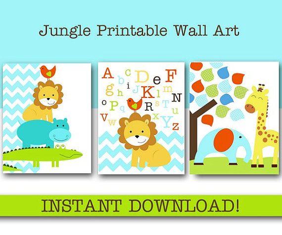 Nursery Wall art, Jungle Safari, Kids room Baby Alphabet Boy Elephant Lion Giraffe Alligator Bird, Printable INSTANT DOWNLOAD on Etsy, $15.95