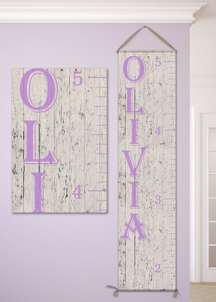 Growth Chart Ruler, Height Chart Ruler  - Personalized Growth Chart, Wooden Growth Chart, Lavender and Grey Nursery, Height Chart Decal by JoliePrints on Etsy
