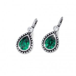 Oliver Weber Women lovely emerald green earrings antique drop with Swarovski Crystals