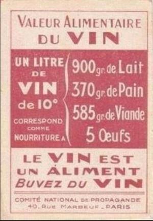 Valeur alimentaire du vin.                                                                                                                                                                                 Plus