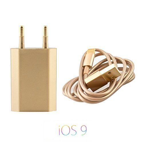 Original iProtect 2 in 1 SET mit USB Ladekabel / Datenkabel und Netzteil für Apple iPhone SE, 5 5s 5c, iPhone 6, iPhone 6s, 6 Plus, iPod Touch 5G, iPad mini, iPad mini 2, iPad 4, iPad Air, iPad Air 2, iPod Nano 7G in gold, 4,99 Euro plus Versand