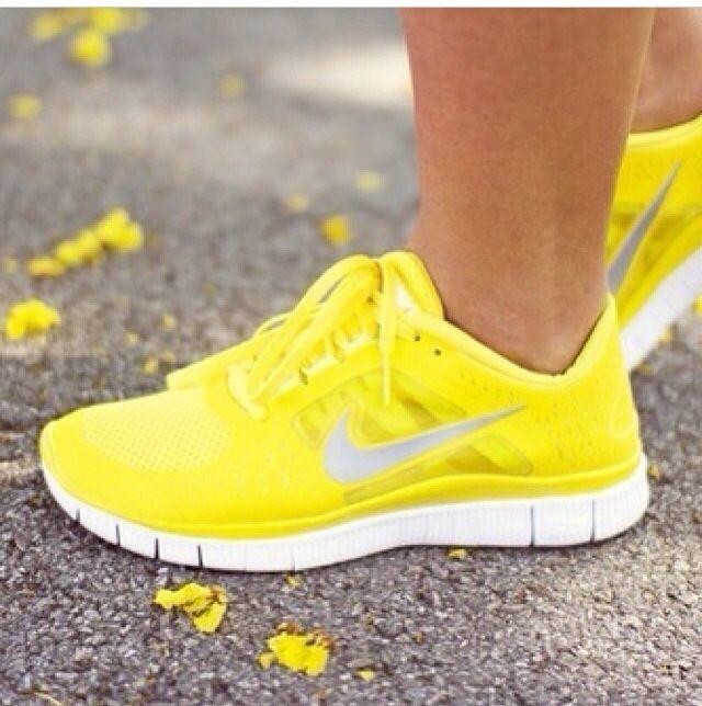 Yellow Nike runners