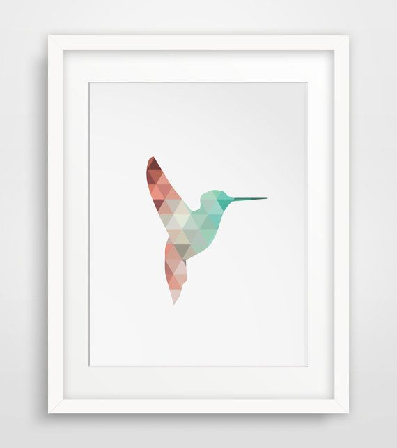 Mint and Coral Hummingbird Wall Art - Printable Decor - A perfect artwork piece for summer decorations or a nursery room DIGITAL FILE ONLY