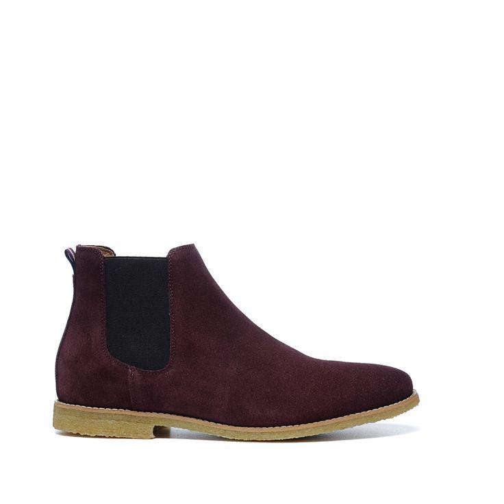 Donkerrode suède chelsea boots
