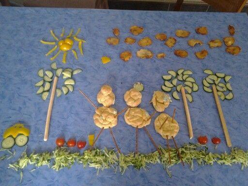 Je kunt het op eten. De poppetjes zijn soesjes gevuld met kip, spinazie en boursin.
