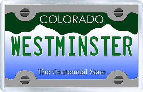 $3.29 - Acrylic Fridge Magnet: United States. License Plate of Westminster Colorado
