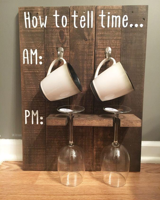 Rustic 'How to Tell Time' Coffee Mug/Wine Glass Wall Rack   SMS Designs LLC