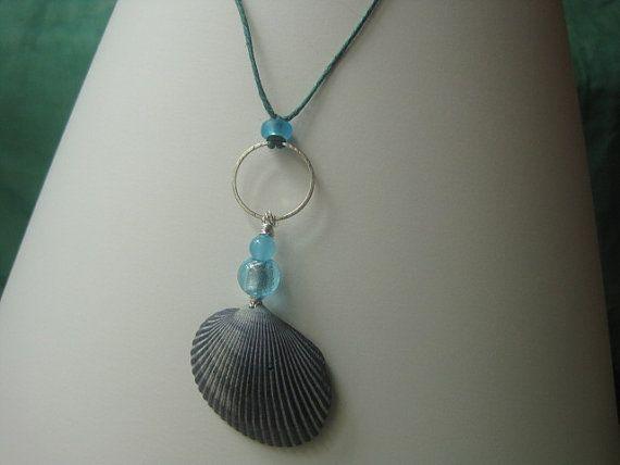 Collana di Seashell arca blu grigio e Carolina