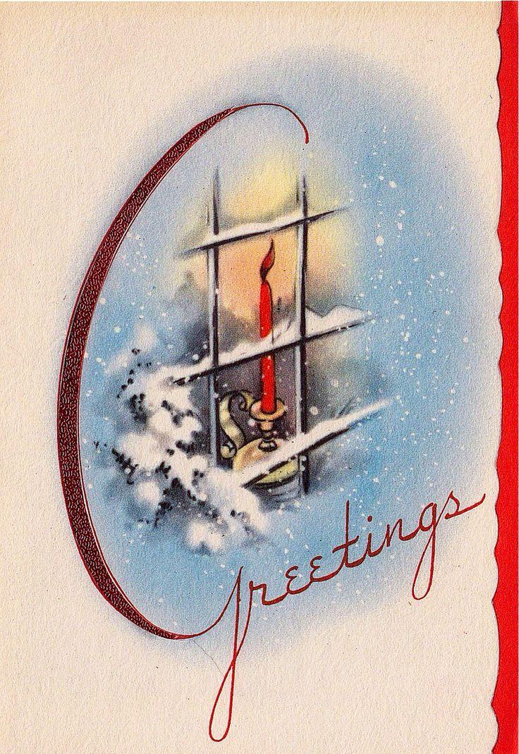 Vintage greeting card christmas house window poinsettia flowers art deco v394 vintage jul - Deco noel vintage ...