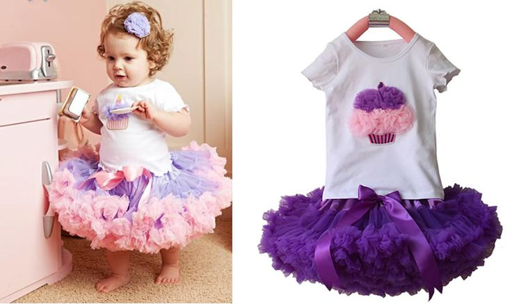 >> Click to Buy << 2 PCS Fashion 2017Baby Girl Kids Baby Cupcake T-shirt Top+Skirt Cute Tutu Outfit Dancewear Clothing Set Clothes New Purple Pink  #Affiliate