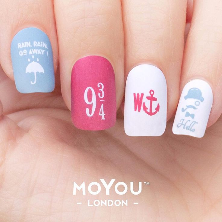 Want to rock our #British mani? Shop the Lingo collection starting this Friday. Toodeloo, good 'ol MYL mates!  #myl #moyoulondon #harrypotter #england #notd #stampingnailart #nailart