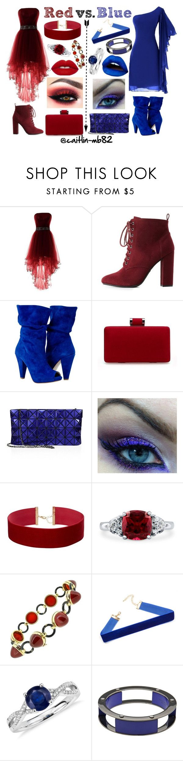 """""""Red vs. Blue"""" by caitlin-mb82 on Polyvore featuring Charlotte Russe, Bao Bao by Issey Miyake, BERRICLE, Blue Nile and Erika Cavallini Semi-Couture"""