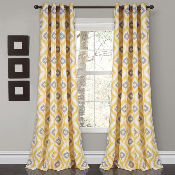 Castleton Ikat Room Darkening Thermal Grommet Curtain Panels Yellow Curtains Curtains Room Darkening