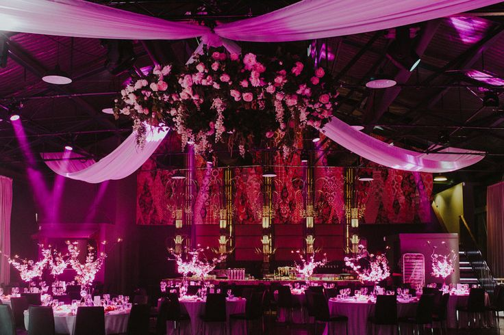 Wedding Dress: Monique Lhuiller Flowers: Fig and Bloom Photography: Loco Photography Cinematography: Burgess Video Centrepieces: Centrepiece by Design Floral Chandelire: Melbourne Event Florals Venue: Showtime Events Centre