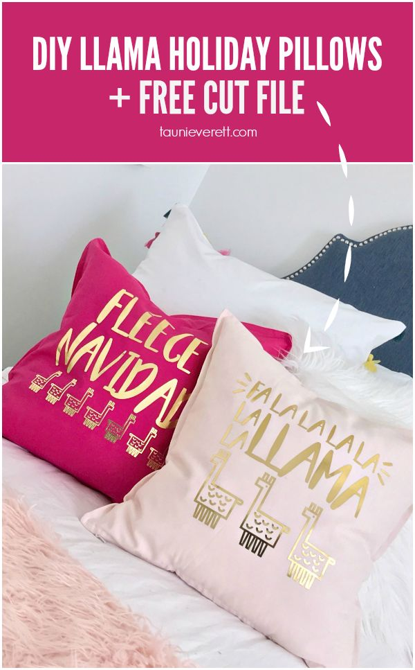 DIY Llama Holiday Pillows featuring Fleece Navidad and Fa La Llama Christmas Cut...