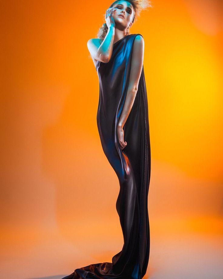 Charcoal silk evening dress. Ema at Style Academy. Photographer Glenn Norwood