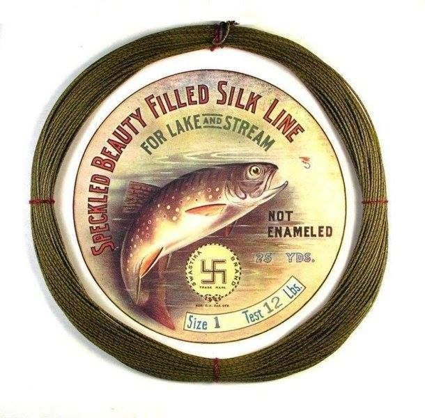 """Tight Lines Tuesday The Swastika by John Etchieson  Tight Lines Tuesday The Swastika; The Swastika was not always an evil symbol – 100+ years ago in 1914 this very rare """"Speckled Beauty"""" fly fishing line featuring the lithographic image of a leaping Brown Trout was introduced..."""