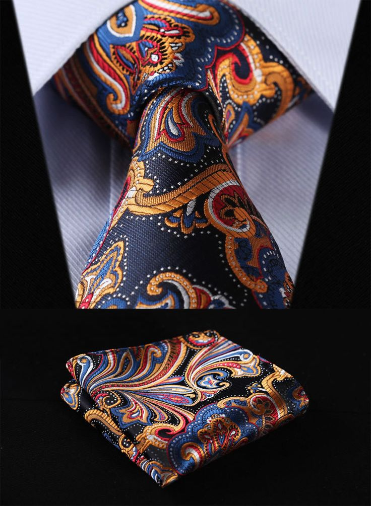 "This set is handmade from 100% silk. The tie measures 2.17"" or 3.4"" at its widest point. - Includes: Tie and Handkerchief - 100% SILK - Dry Clean Only"