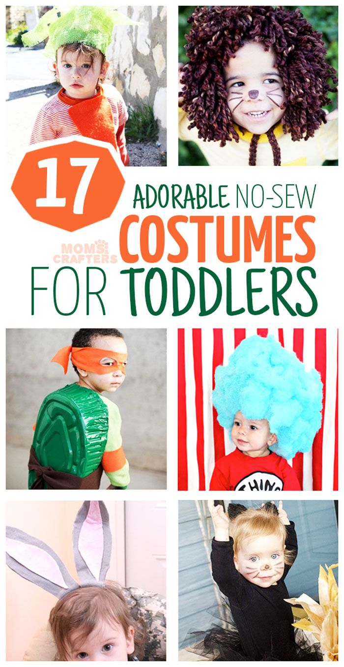 The DIY Halloween costumes (or dress up) you can make WITHOUT SEWING is unbelievable! Click to check out these adorable DIY no sew costumes for toddlers - you'll adore them!