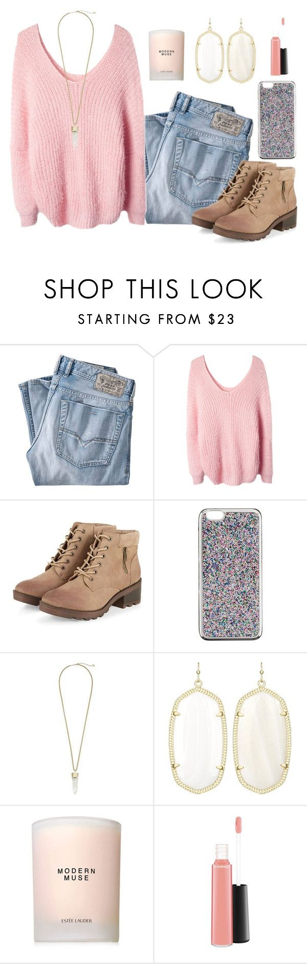 """""""I feel anxious and I don't know why """" by madelyn-abigail ❤ liked on Polyvore featuring Diesel, J.Crew, Kendra Scott, Estée Lauder, MAC Cosmetics, women's clothing, women's fashion, women, female and woman"""